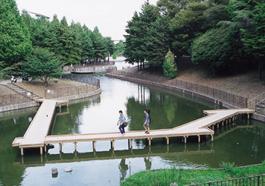 ぼだい池にかかる八つ橋
