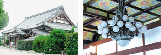 千里寺本堂とシャンデリア